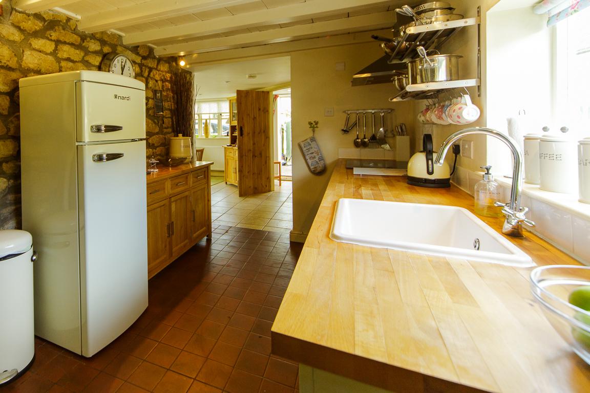 The Kitchen With Retro Style Fridge