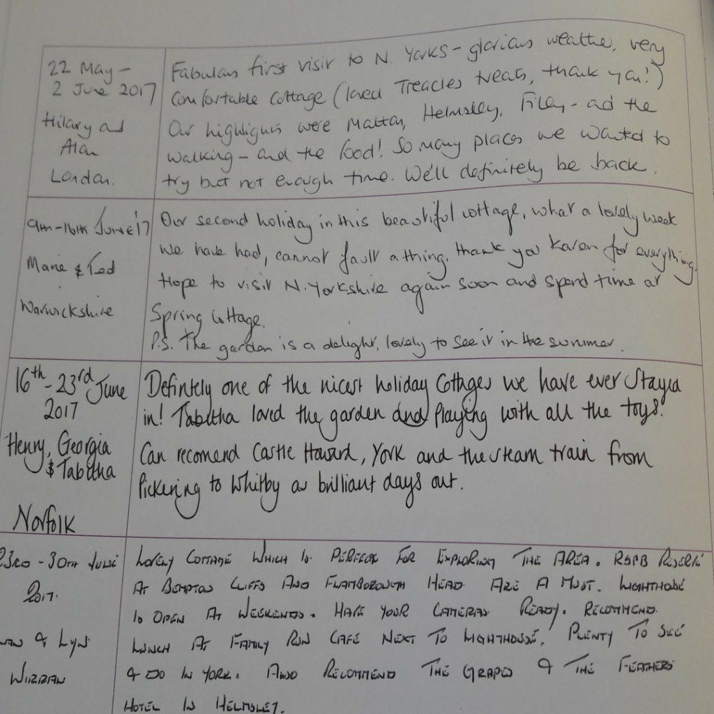 Spring cottage visitors book