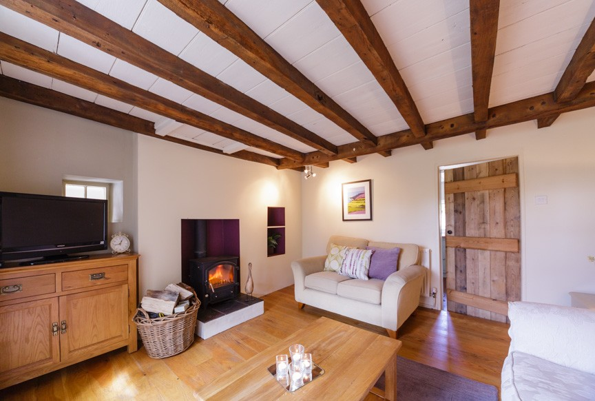 the lounge of a luxury holiday cottage in Yorkshire