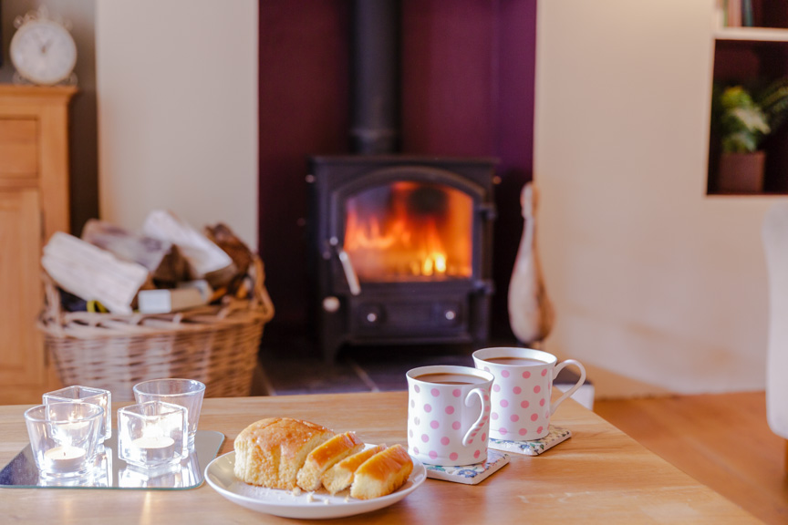 holiday cottage with a log burner